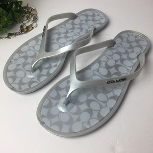 COACH Women Gray Signature Flip-Flop Thong Sandals